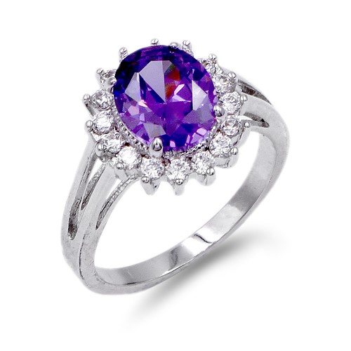 Rhodium Plated Purple Oval CZ Engagement Ring