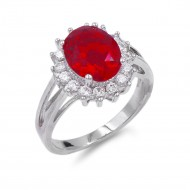 Rhodium Plated Red Oval CZ Engagement Ring