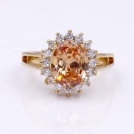 Gold Plated Topaz Oval CZ Engagement Ring