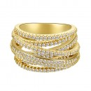 Gold Plated Clear Crystal Mirco Paved Statement Cocktail Ring