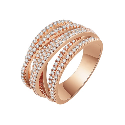 Rose Gold Plated Clear Crystal Mirco Paved Statement Cocktail Ring