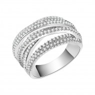 Rhodium Plated Clear Crystal Mirco Paved Statement Cocktail Ring