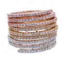 Tri-Tone Mirco Paved Crystal Stackable Statement Ring