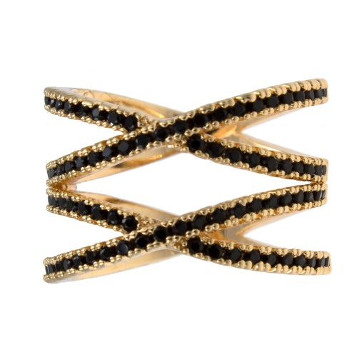 Micro Paved Black CZ Gold Plated Double Cross Statement Ring
