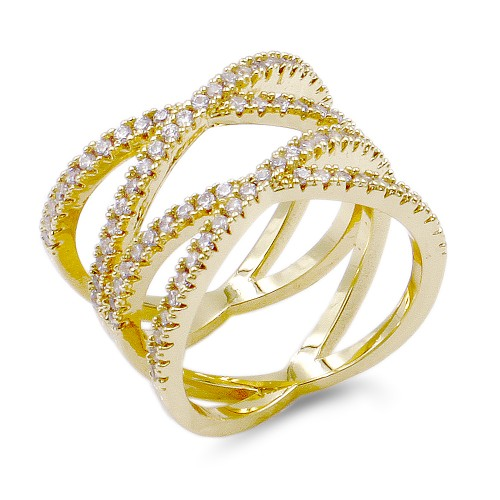 Micro Paved Clear CZ Gold Plated Double Cross Statement Ring