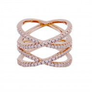 Micro Paved Clear CZ Rose Gold Plated Double Cross Statement Ring