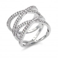 Micro Paved Clear CZ Rhodium Plated Double Cross Statement Ring