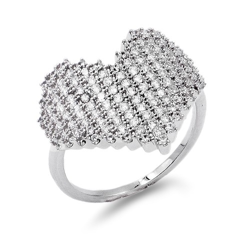 Rhodium Plated with Cubic Zirconia Rings Size 9