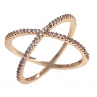 Gold Plated Single X CrissCross Clear CZ Fashion Statement Ring