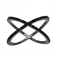 Jet black Single X CrissCross CZ Fashion Statement Ring