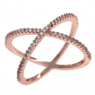 Rose Gold Plated Single X CrissCross Clear CZ Fashion Statement Ring