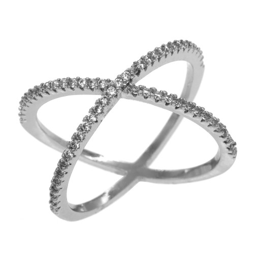 Rhodium Plated Single X CrissCross Clear CZ Fashion Statement Ring