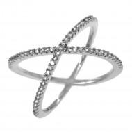 Rhodium Plated Single X CrissCross Clear CZ Fashion Statement Ring