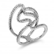 Rhodium Plated with Cubic Zirconia Sized Rings