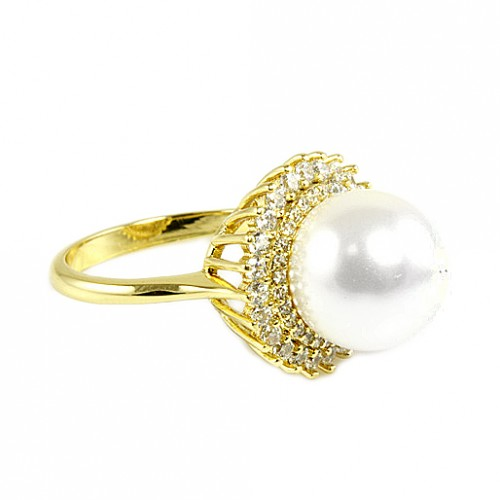 Gold Plated with Cubic Zirconia and Pearl Sized Rings