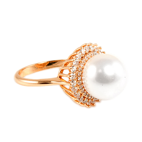 Rose Gold Plated With Pearl and CZ Cubic Zirconia Sized Rings