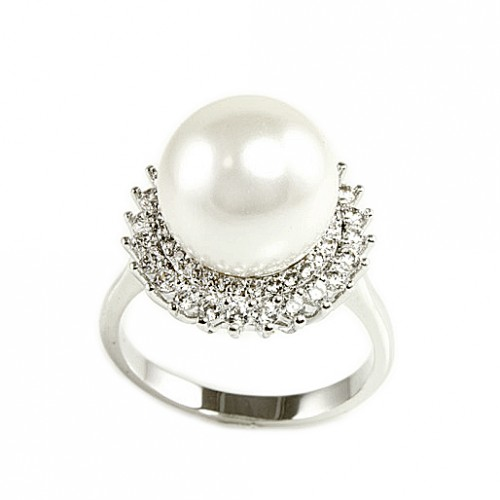 Rhodium Plated with Pearl and CZ Cubic Zirconia Sized Rings