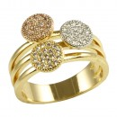 Three Tone Mirco Paved Clear Crystal Statement Ring