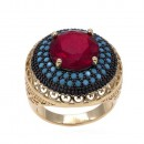 Gold Plated with Red Cubic Zirconia Statement Cocktail Ring