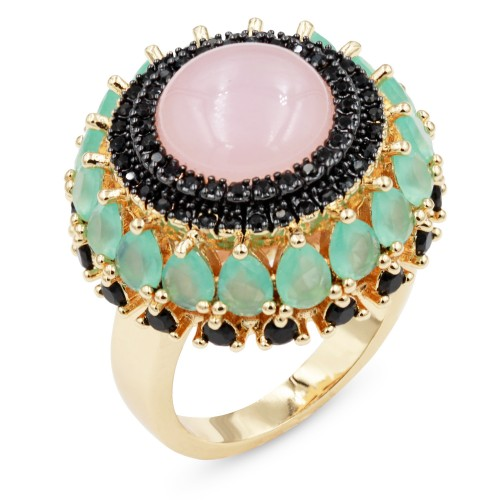 Gold Plated with Rose Quartz Cubic Zirconia Cocktail Statement Ring