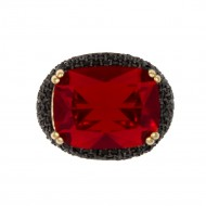 Gold Tone with Black CZ and Red Stone Cocktail Ring