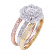 Tri-tone 3 Pcs Stacking With CZ Flower Rings
