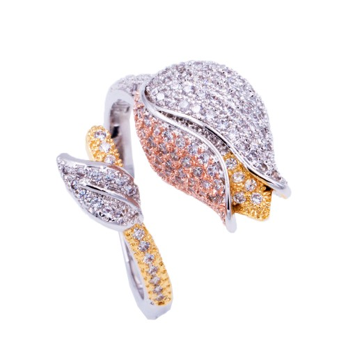 3-Tone Plated With CZ Cocktails Adjustable Rings