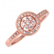 Rose Gold Plated with Cubic Zirconia Wedding Engagement Ring