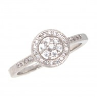 Rhodium Plated with Cubic Zirconia Wedding Engagement Ring