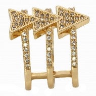 Gold Plated with CZ Arrows Design Statement Ring