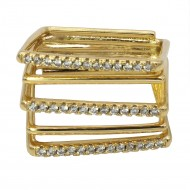 Gold Plated Multi-Squares Cubic Zirconia Statement Ring