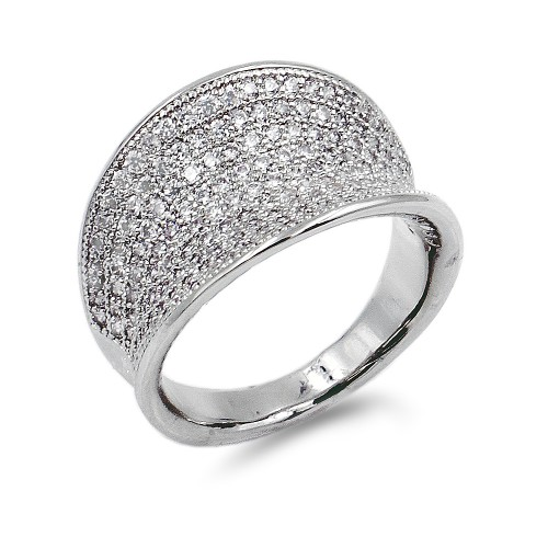 Rhodium Plated Micro CZ Paved Statement Cocktail Ring