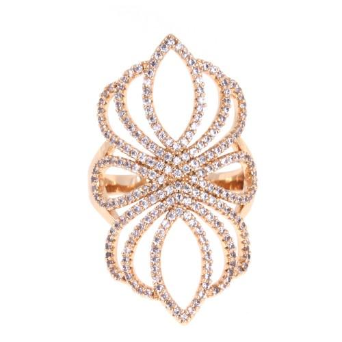 Gold Plated with Cubic Zirconia Filigree Statement Cocktail Ring