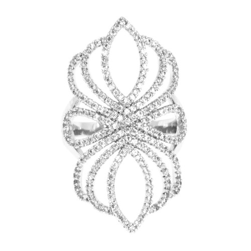 Rhodium Plated with Cubic Zirconia Filigree Statement Cocktail Ring