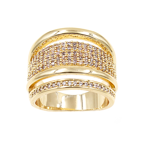 Gold Plated with Clear Cubic Zirconia Sized Rings