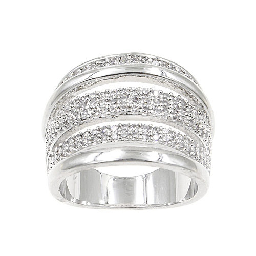 Rhodium Plated With Clear Cubic Zirconia Sized Rings