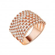 Rose Gold Plated with Clear Cubic Zirconia Rings