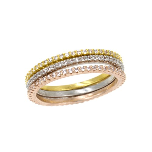 Three Tone Plated 3 PCS CZ Eternity Band Ring Set