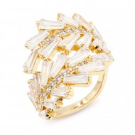 Gold Plated with Clear Cubic Zirconia Adjustable Ring