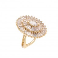 Gold Plated With Clear Cubic Zirconia Adjustable Oval Rings
