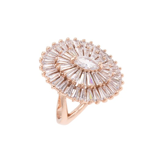 Rose Gold Plated With Clear Cubic Zirconia Adjustable Oval Rings