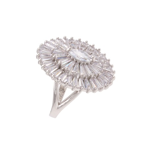 Rhodium Plated With Clear Cubic Zirconia Adjustable Oval Rings