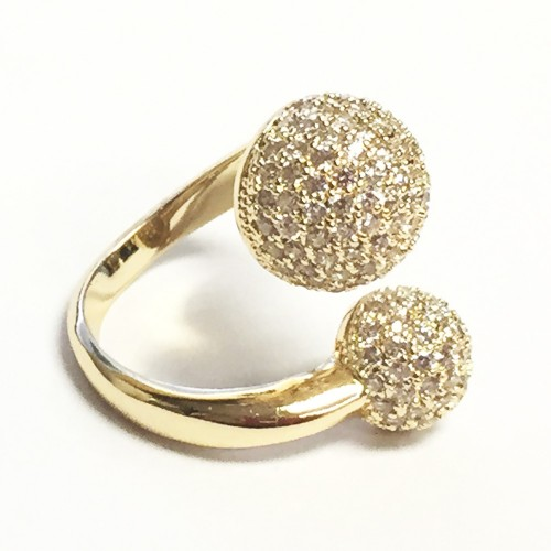 Gold Plated with Double CZ Paved Ball Adjustable Ring