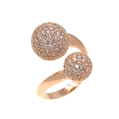 Rose Gold Plated with Double CZ Paved Ball Adjustable Ring