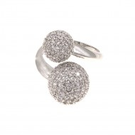 Rhodium Plated with Double CZ Paved Ball Adjustable Ring