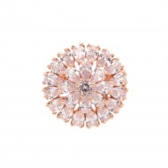 Rose Gold Plated With Clear Cubic Zirconia Adjustable Round Rings