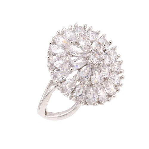 Rhodium Plated With Clear Cubic Zirconia Adjustable Round Rings