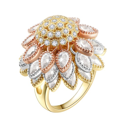 3-Tones with Clear Cubic Zirconia Floral Statement Cocktail Ring
