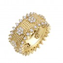 Gold Plated With Clear Cubic Zirconia Wide Band Rings