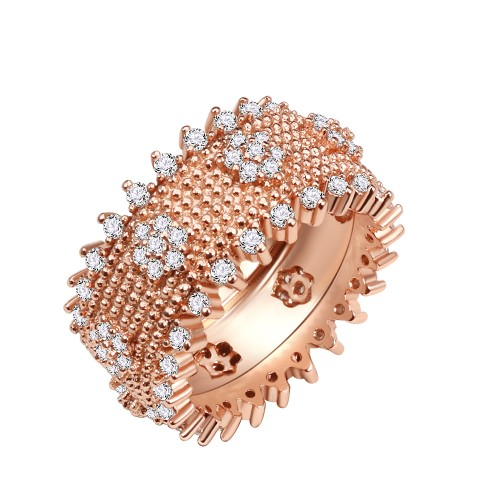 Rose Gold Plated With Clear Cubic Zirconia Wide Band Rings